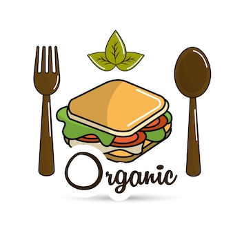 Sandwich icon with spoon and fork organic concept