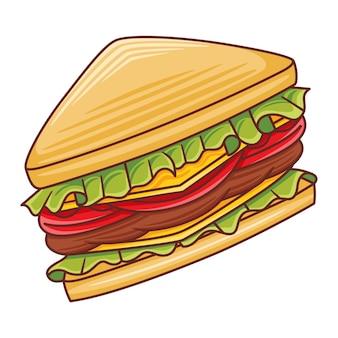 Иллюстрация сэндвича в современном стиле плоского дизайна