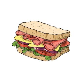 Сэндвич в винтажном стиле рисованной. готов к использованию в любых нуждах.