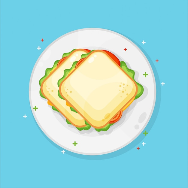 Бутерброд на тарелке