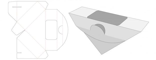 Sandwich packaging die cut template