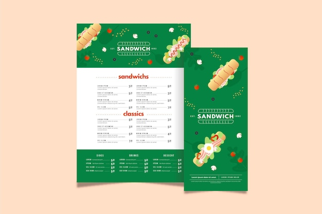 Sandwich restaurant menu template