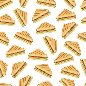 Sandwich seamless pattern background vector design