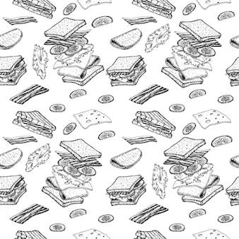 サンドイッチのシームレスなパターン。サンドイッチのスケッチ。手描きイラストに変換。飛行成分。ファーストフードとストリートフードの描画。ハム、チーズ、トマト、タマネギ、レタス。