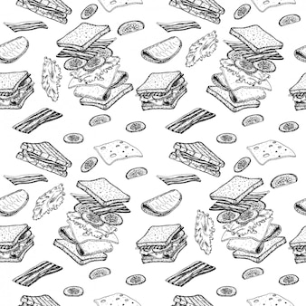 Sandwich seamless pattern. sketch of sandwich. hand drawn illustration converted to  . flying ingredients. fast and street food drawing. ham, cheese, tomato, onion and lettuce.