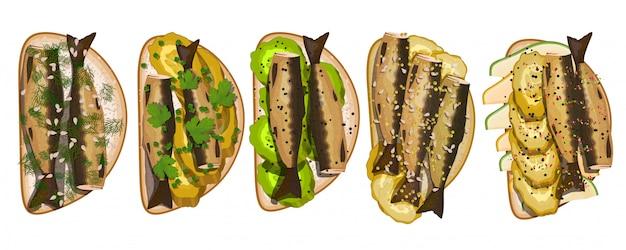 Sandwich set with sprats