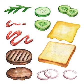 Бутерброд акварельный. еда фаст-фуда на иллюстрации акварели.