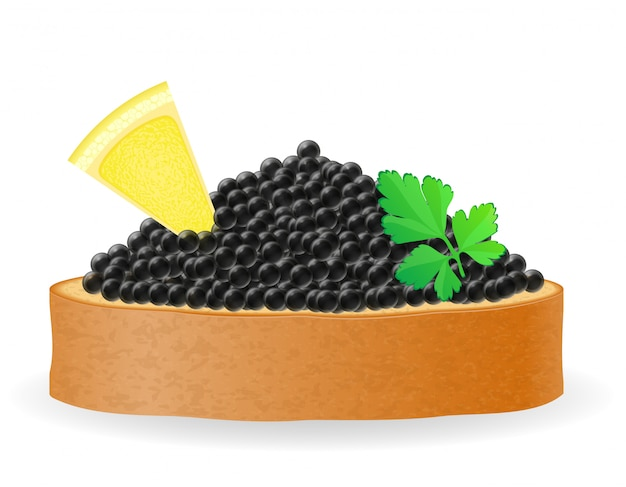 Sandwich with black caviar lemon and parsley vector illustration