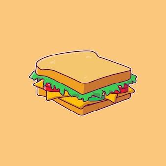 チーズと野菜のベクトルフラットイラストとサンドイッチ