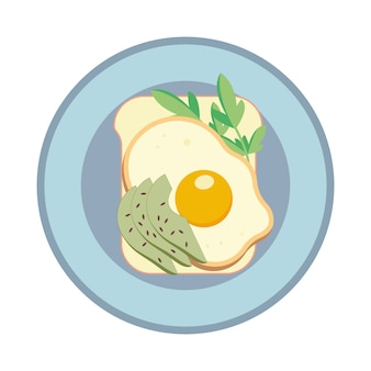 目玉焼きとアボカドのサンドイッチ。皿にサンドイッチ。図。