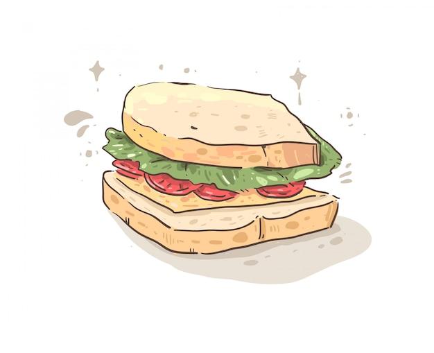 Бутерброд с ветчиной, сыром, помидорами и хлебом