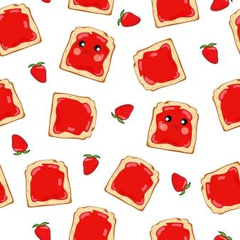 いちごジャムといちごのシームレスなパターンのサンドイッチ。