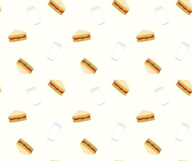 Бутерброды и фон с молочным фоном