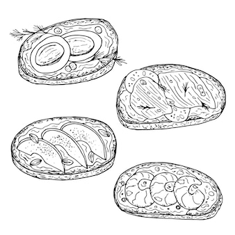 Sandwiches. hand drawn   illustration. monochrome black and white ink sketch. line art. isolated