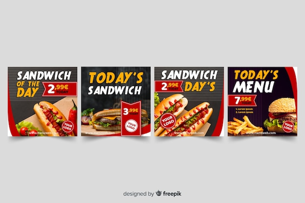 Sandwiches instagram post collection with photo