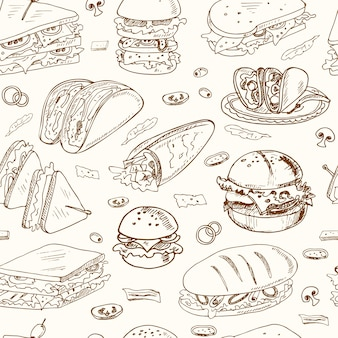 Sandwiches seamless pattern club sandwich cheeseburger hamburger deli wrap roll taco baguette bagel toast.
