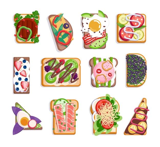 Набор бутербродов нездоровой нежелательной и здорового меню быстрого питания. поджаренный хлеб с мясом, фруктами, колбасами, другим ингредиентом соуса, коркой питания векторные иллюстрации, изолированные на белом фоне