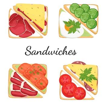 異なるフィリング食品のサンドイッチ