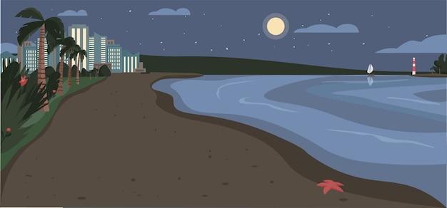 Песчаный пляж в ночное время цветные рисунки. вечернее побережье с небоскребами и тропическими пальмами. экзотический летний прибрежный мультяшный пейзаж с современными городскими зданиями на фоне