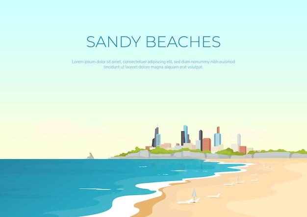 Плоский шаблон баннера песчаного пляжа. летний городской отдых. морские курортные отели. брошюра, буклет на одну страницу концептуального дизайна с мультяшным ландшафтом. летний отдых в городе горизонтальный флаер, листовка