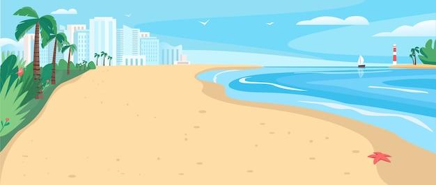 Песчаный пляж плоский цветной рисунок