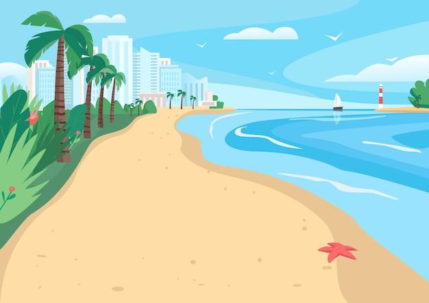 Песчаный пляж плоский векторные иллюстрации