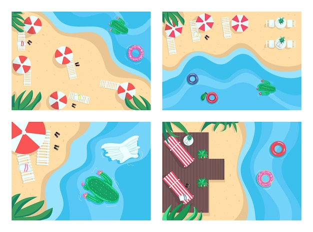 Sandy beaches flat color illustration set