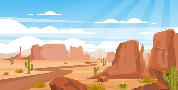 Sandy desert landscape colorful flat illustration. empty valley with rocks, crags and green cactuses. dry land with draughts and hot climate. arizona beautiful panoramic view.