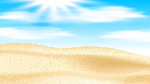 Песчаная пустыня с дюнами и вектором яркое солнце. песок пустыни и солнце в пасмурном небе, жаркая летняя погода экстремальной природы. высокотемпературный экстремальный сухой пейзаж реалистичные 3d иллюстрации