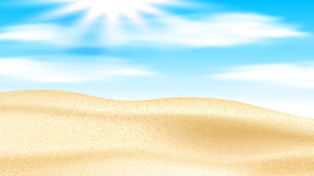 Sandy desert with dunes and shining sun vector. sand desert and sunshine in cloudy sky, hot summer weather extreme nature. high temperature extremal dry landscape realistic 3d illustration