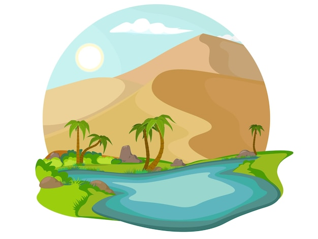 Sandy landscape with blue lake and palm tree. oasis in the desert.
