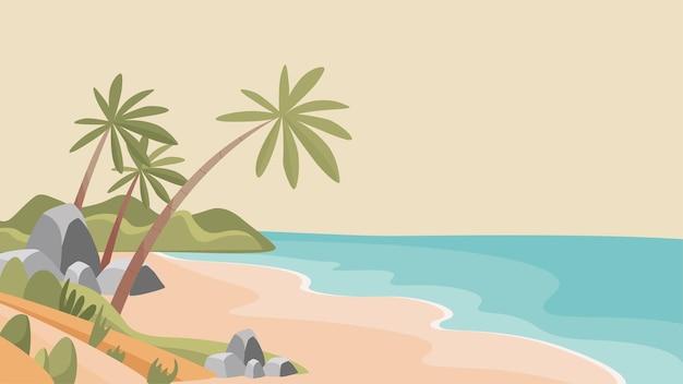 Песчаный тропический пляж вектор плоской иллюстрации необитаемый необитаемый остров с