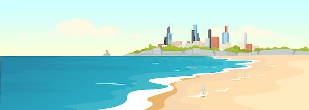 砂浜の都会のビーチフラットカラー。海岸と近代的な建物。マリンシティビュー。夏のレクリエーション。背景に高層ビルと海の海岸の2d漫画の風景