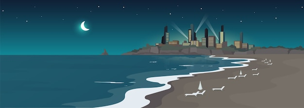 Sandy urban beach at night flat color . sea shore and buildings at midnight. resort town view. summertime recreation. ocean coast 2d cartoon landscape with skyscrapers on background