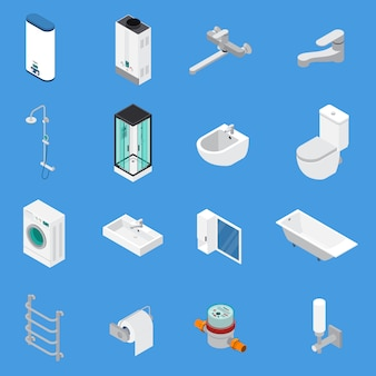 Sanitary engineering isometric icons