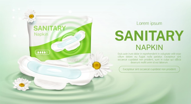 Sanitary napkins package chamomile flower