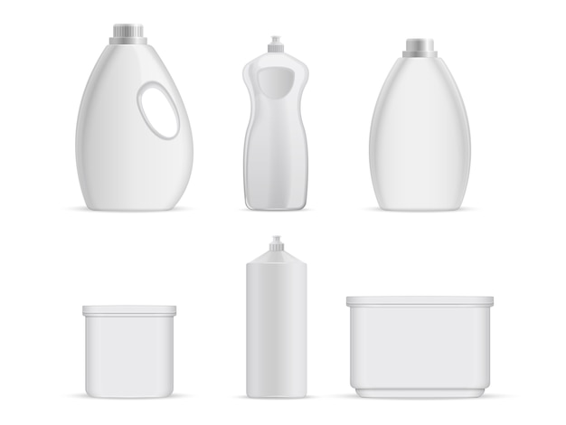 Sanitary plastic empty bottles with chemical liquids for cleaning services.