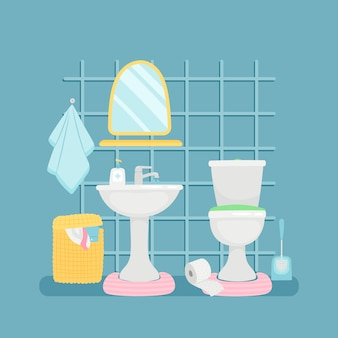 Sanitary room with sink, toilette, towels  illustration