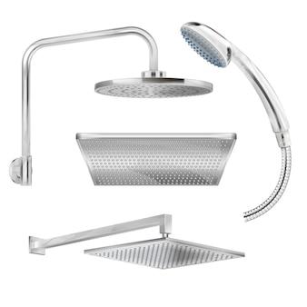 Set sanitario di soffioni doccia in acciaio sporchi isolati di varie forme su bianco realistico