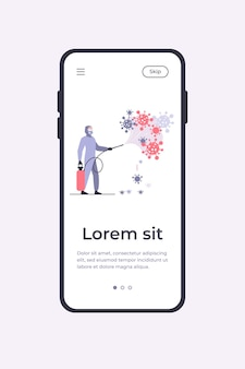 Operatori sanitari in tute protettive che diffondono sostanze chimiche sul virus e disinfettano la superficie. modello di app mobile illustrazione vettoriale