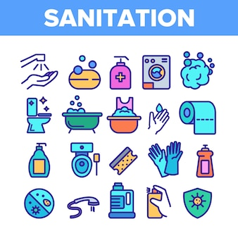 Sanitation elements icons set
