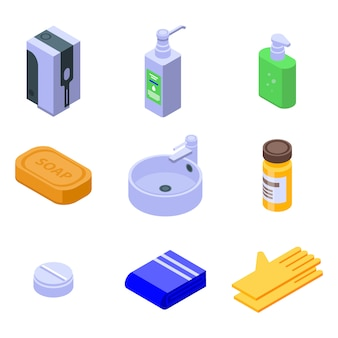 Sanitation icons set, isometric style