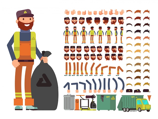 Sanitation worker vector man character.
