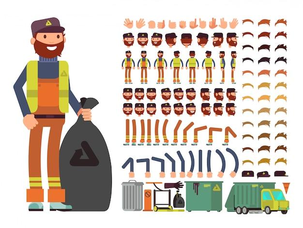 Sanitation worker vector man character.