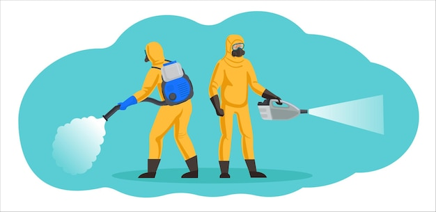 Sanitization, disinfection and pest control workers. people in chemical protection suits use cold mist generators.