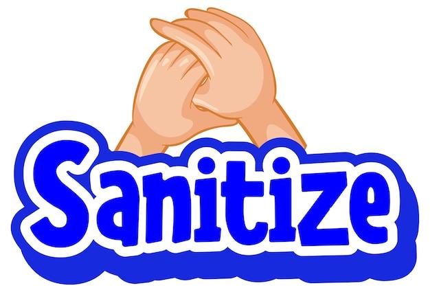Disinfetta il carattere in stile cartone animato con le mani che si tengono insieme