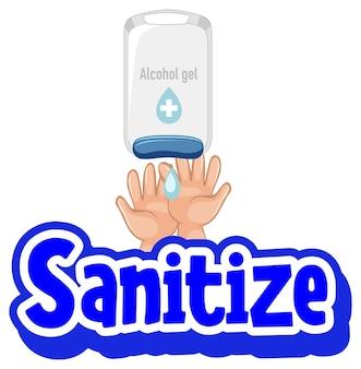 Disinfetta il carattere in stile cartone animato con le mani usando gel alcolico