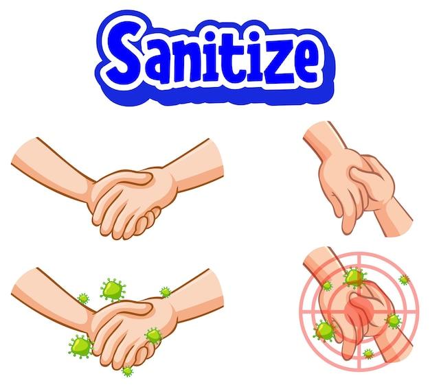 Disinfetta il design dei caratteri con la diffusione del virus dallo stringere la mano sul bianco