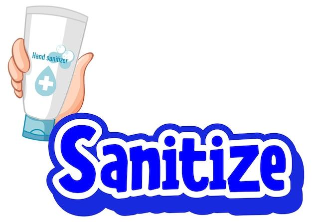 Очистить шрифт в мультяшном стиле рукой, держащей спиртовой гель