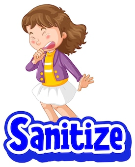 Sanitize font with a girl feel sick character isolated on white